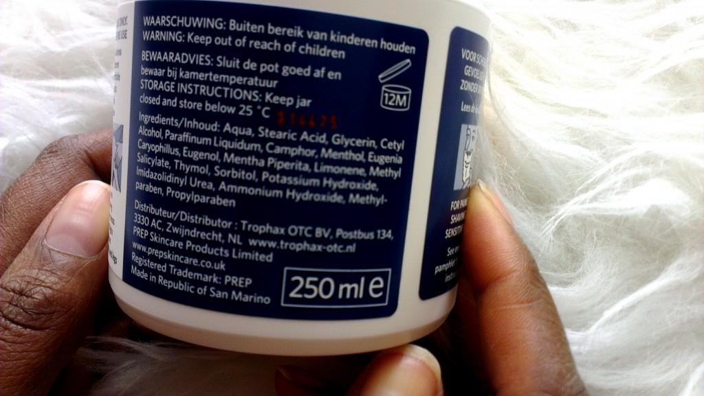 Review PREP creme_ Prep Cream_ingredienten