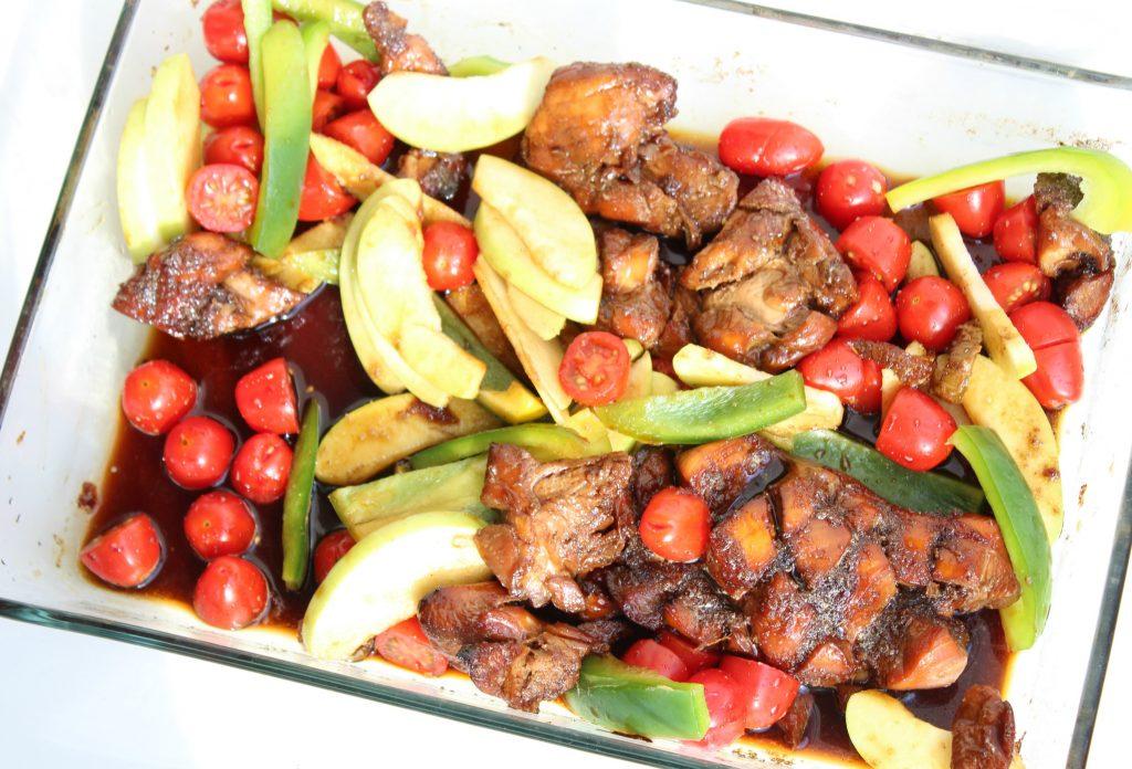 groentes in de over-gekarameliseerde kip